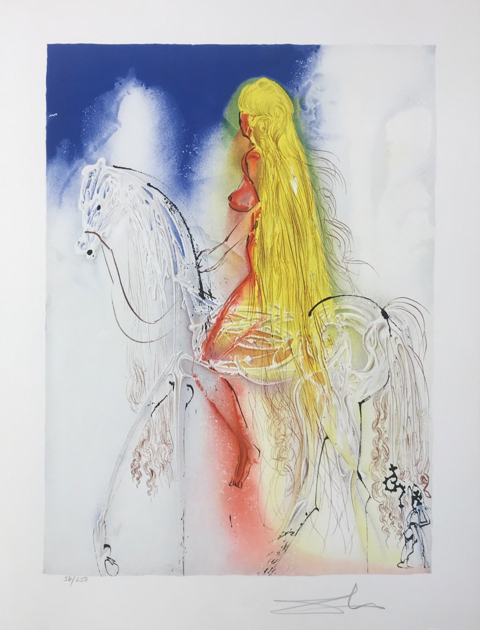 lady godiva lithographie chevaux horses dalinien