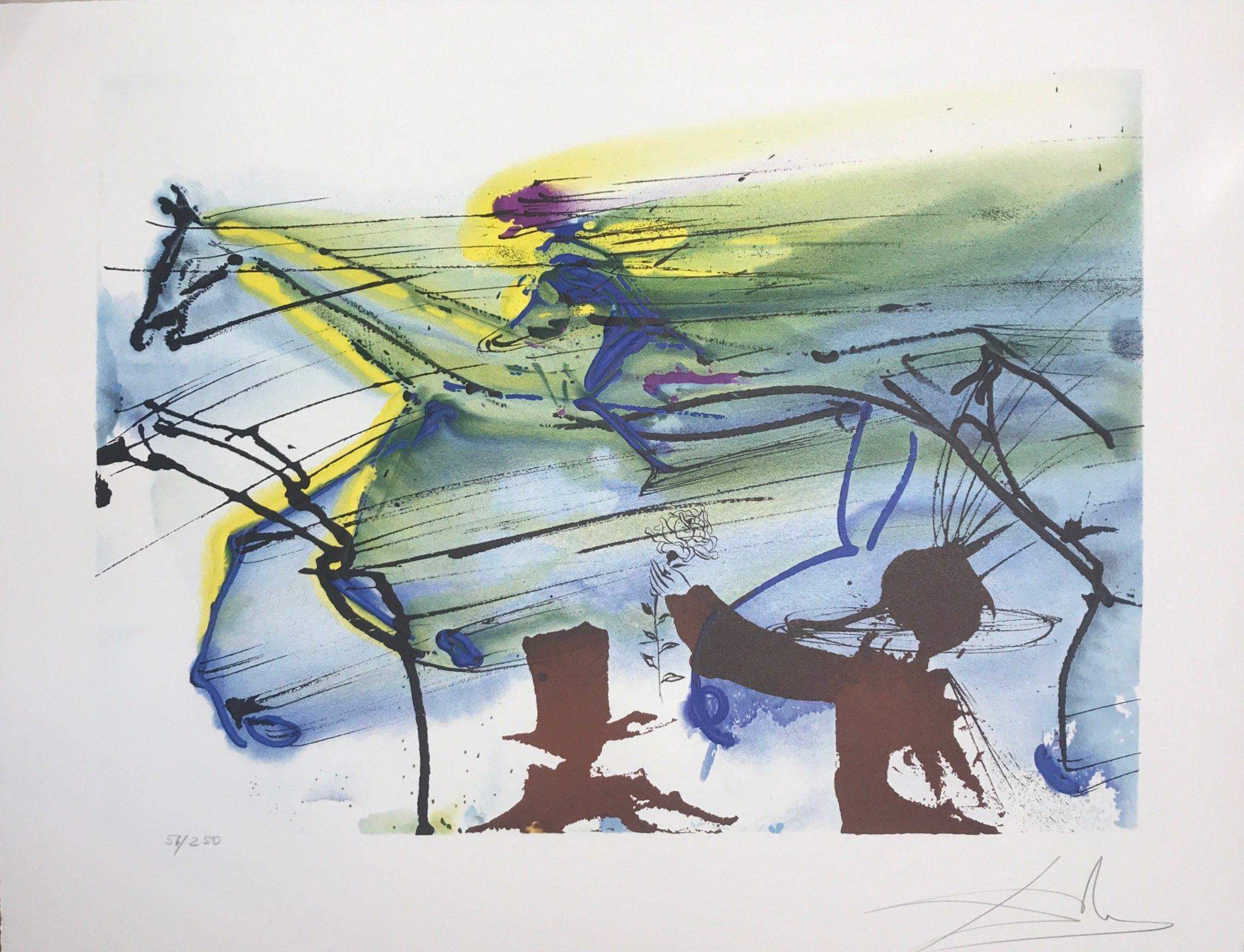cheval de course horse race cheval chevaux lithographie dali