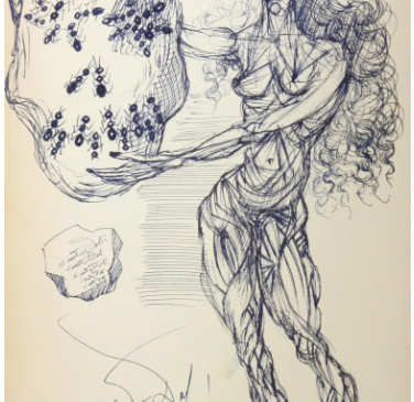 Ant skull unique piece sketch by Dali