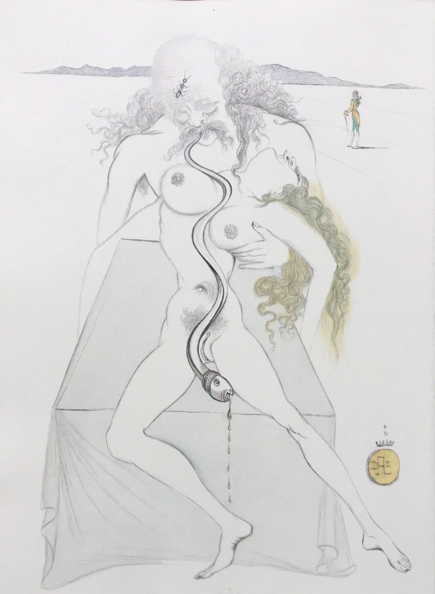 Nude couple, large serpent dali casanova